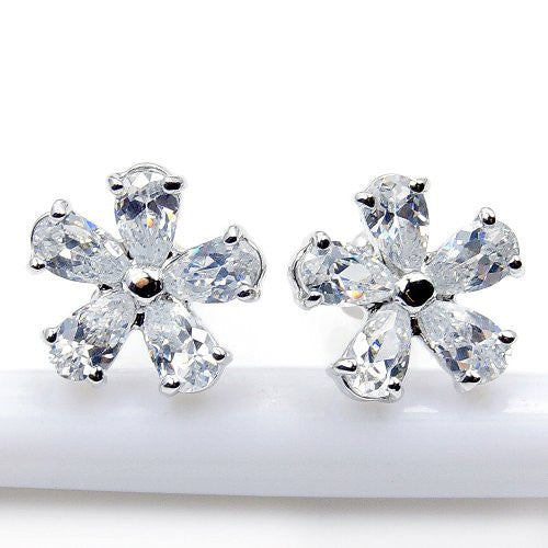 'Frost Flower' Sterling Silver Cubic Zirconia Stud Earrings - The Silver Plaza