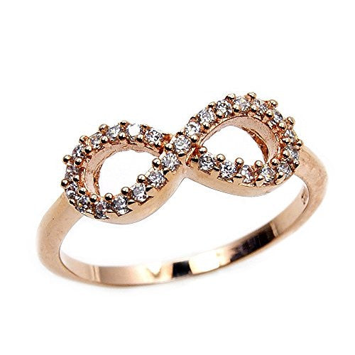 'Infinity' Sterling Silver, Rose Gold & Cubic Zirconia Ring, Size 8 - Emavera
