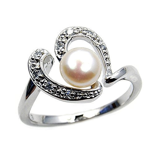 Eternal Love' Sterling Silver Simulated Pearl, CZ Bridal Heart Ring, Size 5 - The Silver Plaza