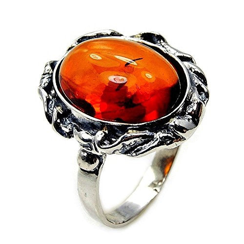 Beautiful Sterling Silver Natural Baltic Amber Ring, Size 7.75 - The Silver Plaza