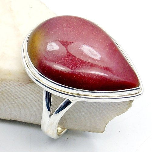 'Red Desert' Sterling Silver Mookaite Ring, Size 6.75 - The Silver Plaza