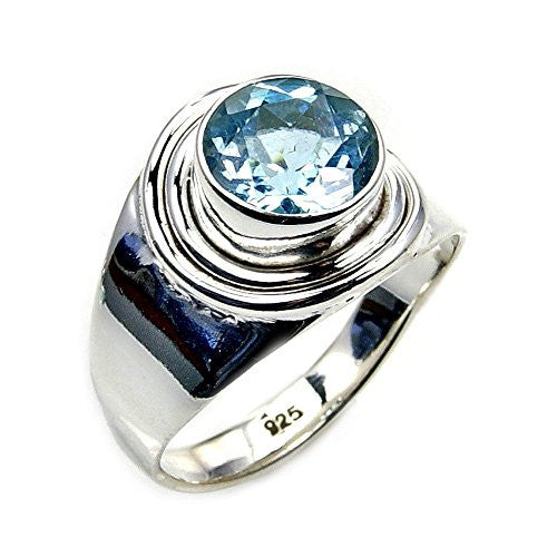 Sterling Silver Genuine Blue Topaz Ring, Size 5.75 - The Silver Plaza