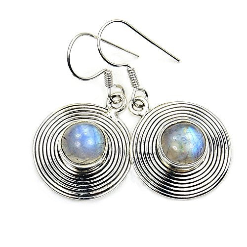 Alluring Sterling Silver Moonstone Dangle Earrings - The Silver Plaza