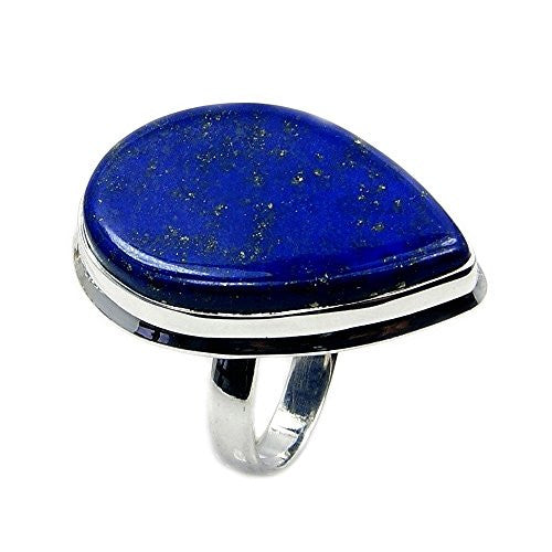 Gorgeous Large Sterling Silver Lapis Lazuli Ring, Size 6.75 - The Silver Plaza