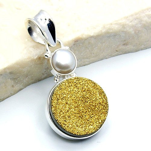 Sparkling Sterling Silver Golden Druzy, Simulated Pearl Pendant - The Silver Plaza