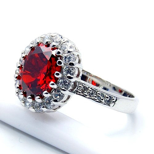 'Flames of Love' Sterling Silver Red Cubic Zirconia Ring Size 5.75 - Emavera