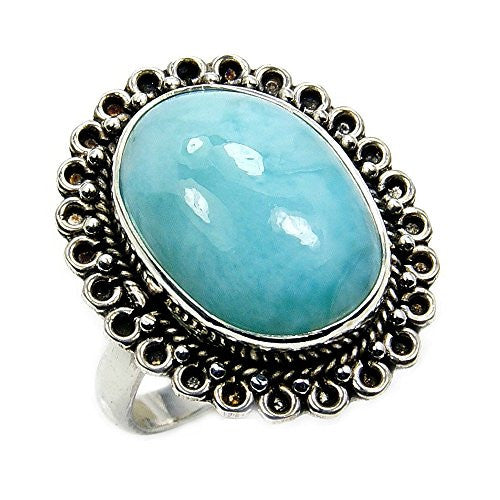 Sterling Silver Natural Dominican Larimar Ring, Size 7.75 - The Silver Plaza