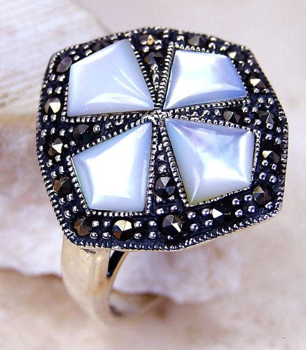 Blister Pearl, Marcasite & Sterling Silver Ring Size 5.5 - The Silver Plaza