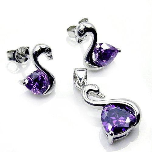 'Swan of Love' Sterling Silver Purple CZ Stud Earrings & Pendant Set - The Silver Plaza