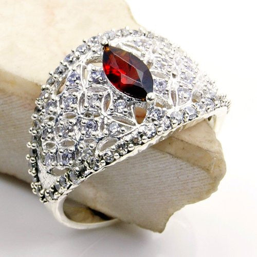 'Royal Spark' Sterling Silver Garnet, Cubic Zirconia Studded Ring, Size 7.75 - The Silver Plaza