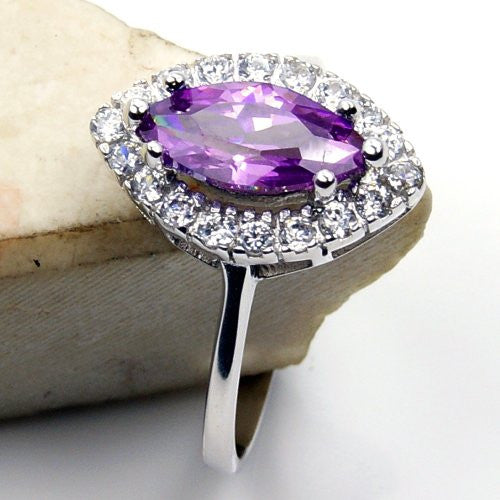 Alluring Sterling Silver Purple Cubic Zirconia Ring, Size 6.75 - Emavera