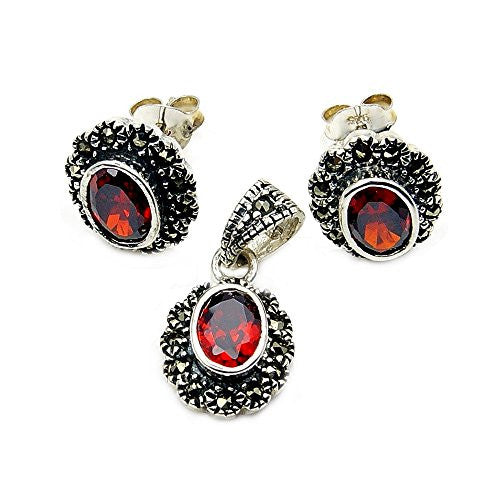 Sparkling Sterling Silver Red CZ, Marcasite Stud Earrings & Pendant Set - The Silver Plaza