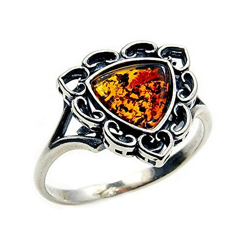 'Love in the Air' Sterling Silver Natural Baltic Amber Ring, Size 6.75 - The Silver Plaza
