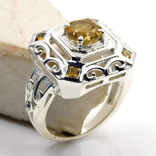 'Royal Sparkle' Sterling Silver Citrine, Cubic Zirconia Ring, Size 4.75 - The Silver Plaza