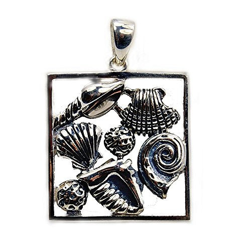 'Ocean Treasures' Solid Sterling Silver Seashells Pendant - The Silver Plaza