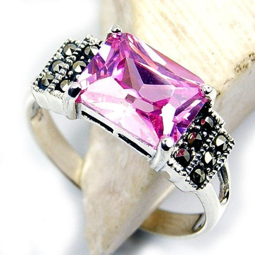 Sparkling Pink Cubic Zirconia & Sterling Silver Ring Size 5.5 - The Silver Plaza