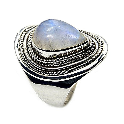 Beautiful Sterling Silver Moonstone Ring, Size 6.75 - The Silver Plaza