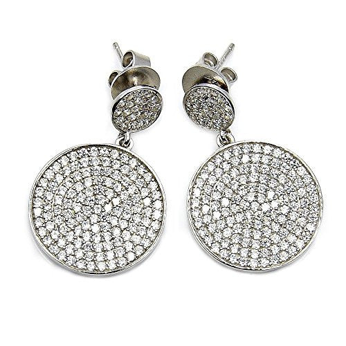 Dazzling Sterling Silver Micro Pave Cubic Zirconia Dangle Earrings - The Silver Plaza
