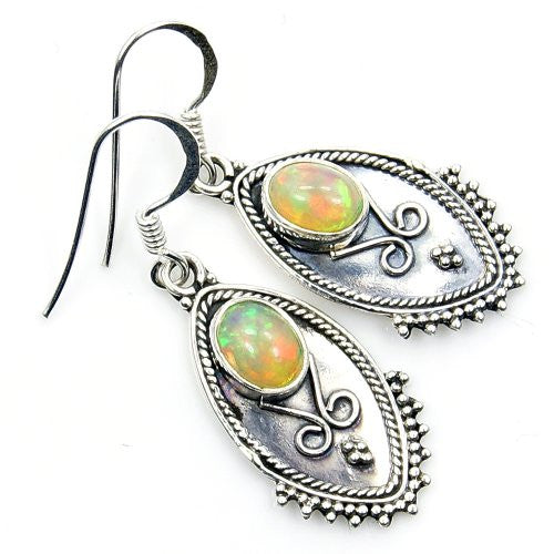 'Fire Within' Ethiopian Opal & Sterling Silver Earrings - The Silver Plaza