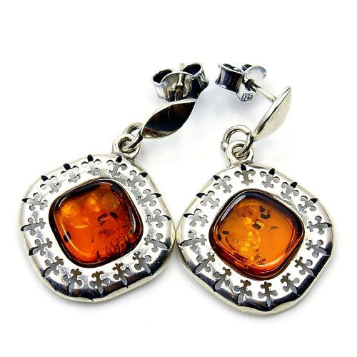 'Fleur-de-lis' Sterling Silver Natural Baltic Amber Dangle Earrings - The Silver Plaza