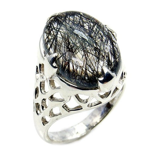 Spectacular Sterling Silver Tourmalinated Quartz Ring, Size 7.25 - The Silver Plaza