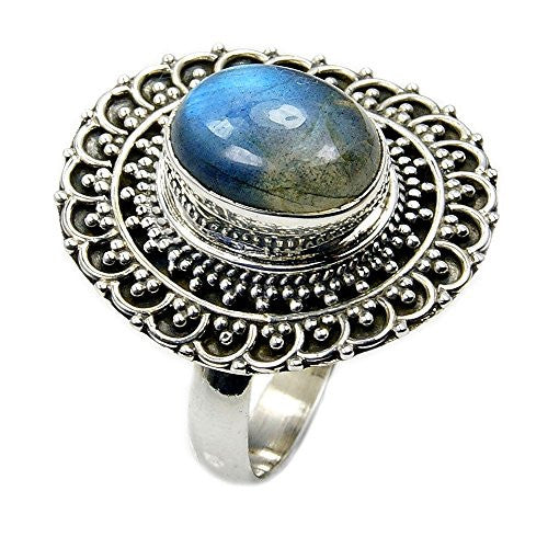 Incredible Sterling Silver Labradorite Ring, Size 8.25 - The Silver Plaza