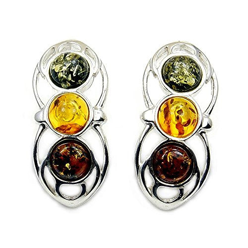 Stylish Sterling Silver Natural Multicolor Baltic Amber Stud Earrings - The Silver Plaza