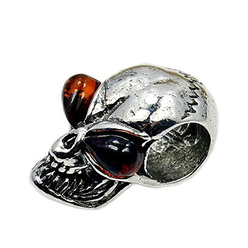 Sterling Silver Natural Baltic Amber Skull Bead For Charm Bracelets - The Silver Plaza