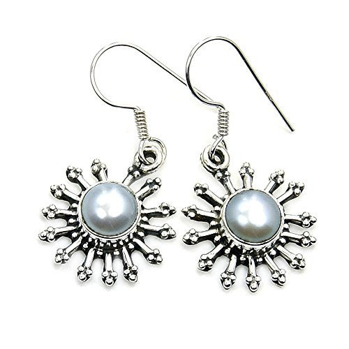 'Snowflake' Sterling Silver Simulated Pearl Dangle Earrings - The Silver Plaza