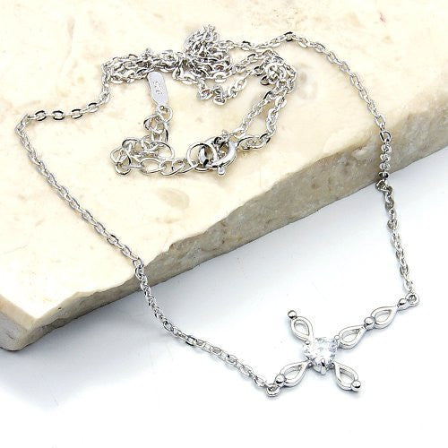 Sterling Silver Cubic Zirconia Cross Necklace - Emavera