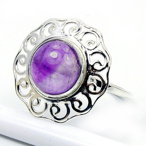 'Protection Stone' Sterling Silver Amethyst Ring Size 8.5 - The Silver Plaza