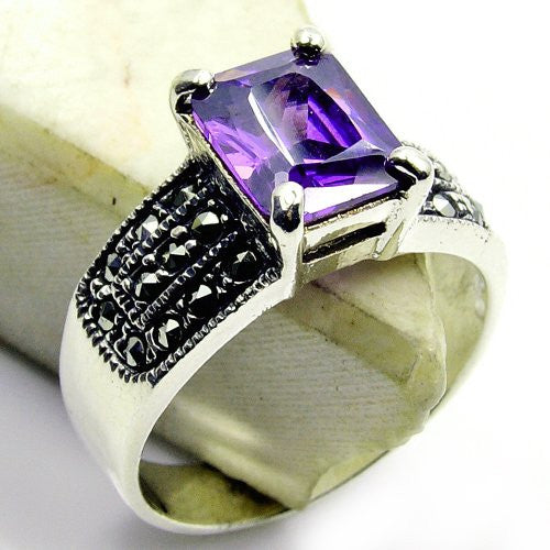 'Mystic Princess' Sterling Silver Purple CZ, Marcasite Ring Size 9 - Emavera