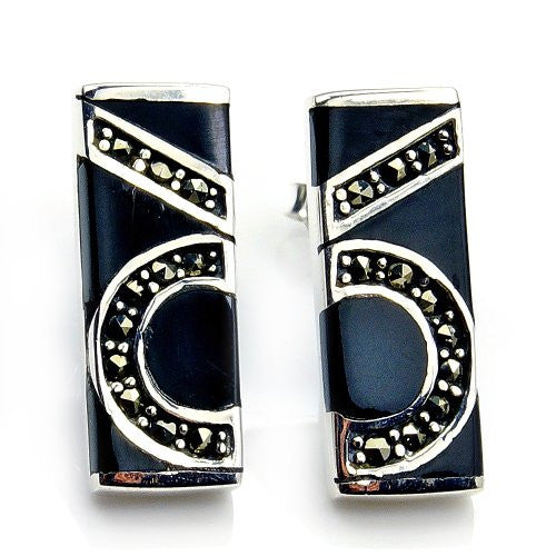 Unique Sterling Silver Black CZ, Marcasite Earrings - The Silver Plaza