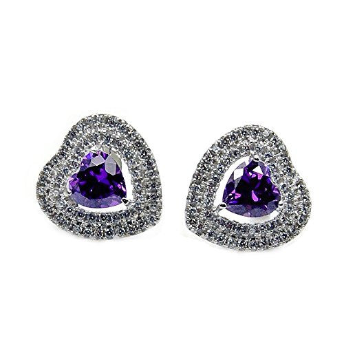 Sterling Silver Purple Cubic Zirconia Heart Stud Earrings - The Silver Plaza