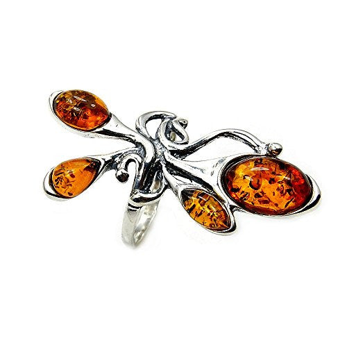 Large Sterling Silver Natural Baltic Amber Ring, Size 5.5 - The Silver Plaza