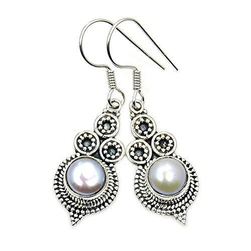 Flirty Sterling Silver Simulated Pearl Dangle Earrings - The Silver Plaza