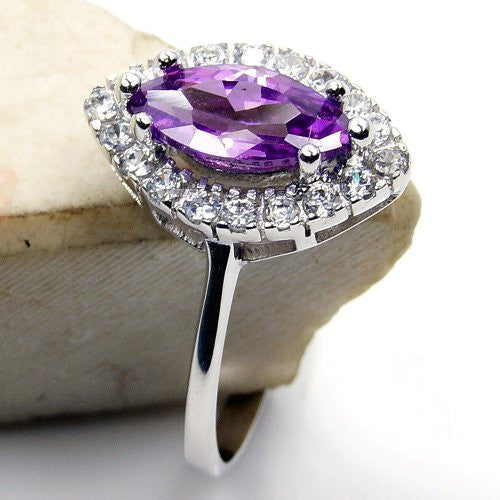 'Royal Spark' Sterling Silver Purple Cubic Zirconia Ring, Size 9 - The Silver Plaza