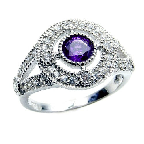 'Royal Glam' Sterling Silver Purple Cubic Zirconia Ring, Size 5.75 - The Silver Plaza