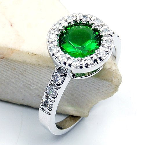 'Vivid Green' Sterling Silver Green CZ Ring, Size 7.75 - The Silver Plaza