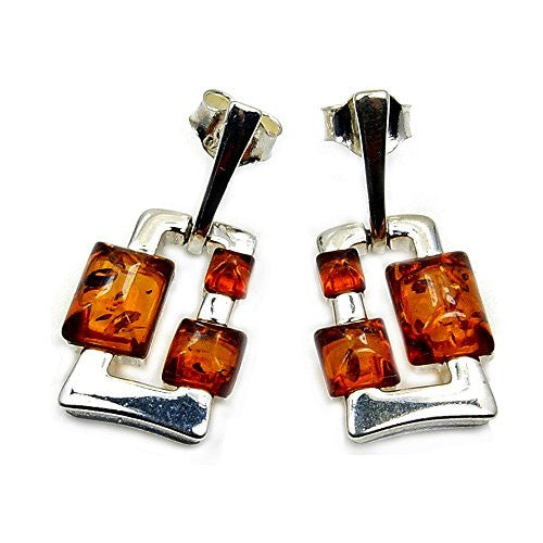 Modern Style Sterling Silver Natural Baltic Amber Dangle Earrings - The Silver Plaza