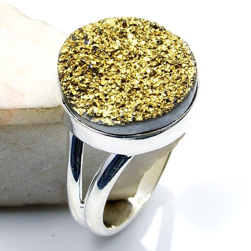 'All That Glitters' Sterling Silver Golden Titanium Druzy Ring, Size 5.75 - The Silver Plaza