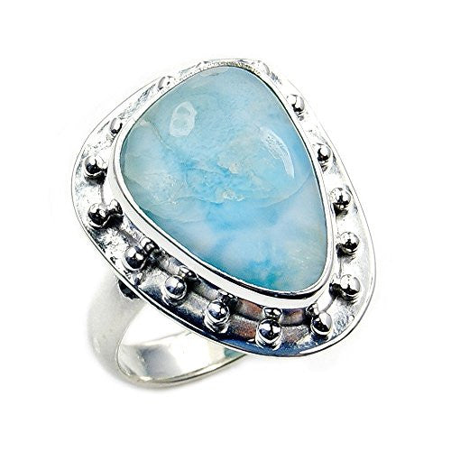 Unique Sterling Silver Natural Dominican Larimar Ring, Size 6.75 - The Silver Plaza