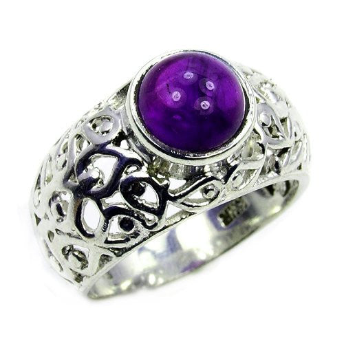 'Purple Queen' Sterling Silver Amethyst Ring, Size 6.75 - The Silver Plaza