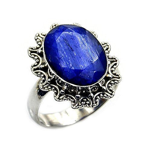 'Shimmering Blues' Sterling Silver Blue Sillimanite Ring, Size 6.25 - The Silver Plaza