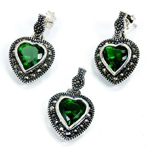 """Sparkling Hearts"" Sterling Silver Green Cubic Zirconia Marcasite Earrings & Pendant Set - The Silver Plaza"