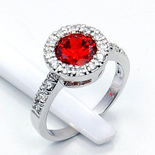 'Passion's Flame' Sterling Silver Red Cubic Zirconia Ring Size 7.75 - Emavera