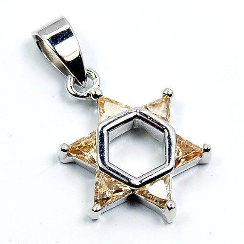 """Jewish Star of David"" Sterling Silver Honey CZ Pendant - The Silver Plaza"