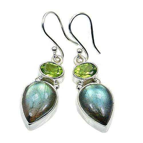 Incredible Sterling Silver Labradorite, Peridot Dangle Earrings - The Silver Plaza