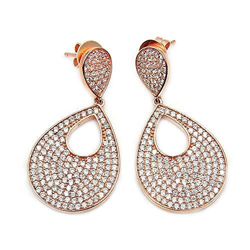 Head-turning Sterling Silver, Rose Gold & Micro Pave Cubic Zirconia Dangle Earrings - The Silver Plaza