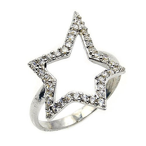 'Rock Star' Sterling Silver Cubic Zirconia Ring, Size 6 - The Silver Plaza